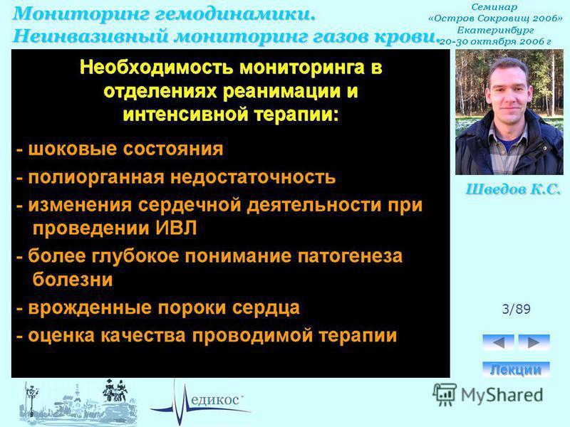 Мониторинг гемодинамики. Неинвазивный мониторинг газов крови. Шведов К.С. 3/89