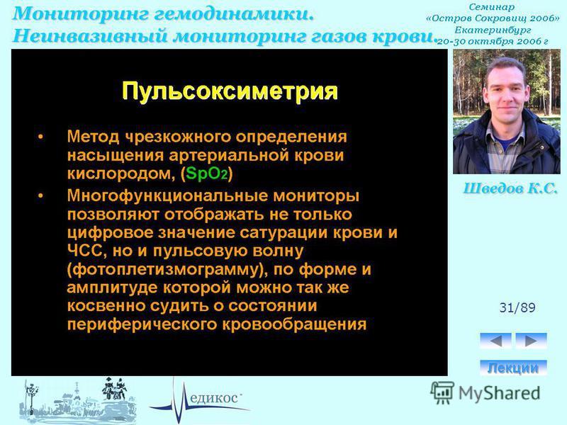 Мониторинг гемодинамики. Неинвазивный мониторинг газов крови. Шведов К.С. 31/89
