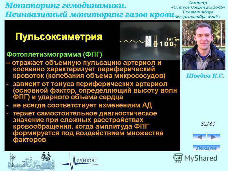 Мониторинг гемодинамики. Неинвазивный мониторинг газов крови. Шведов К.С. 32/89