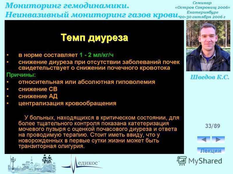 Мониторинг гемодинамики. Неинвазивный мониторинг газов крови. Шведов К.С. 33/89