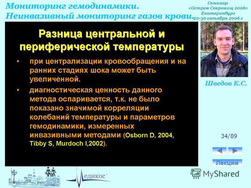 Мониторинг гемодинамики. Неинвазивный мониторинг газов крови. Шведов К.С. 34/89