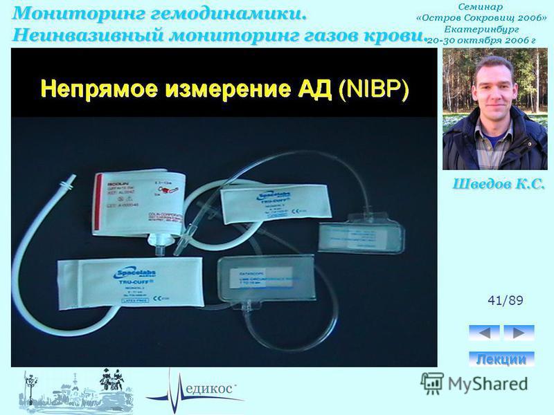 Мониторинг гемодинамики. Неинвазивный мониторинг газов крови. Шведов К.С. 41/89