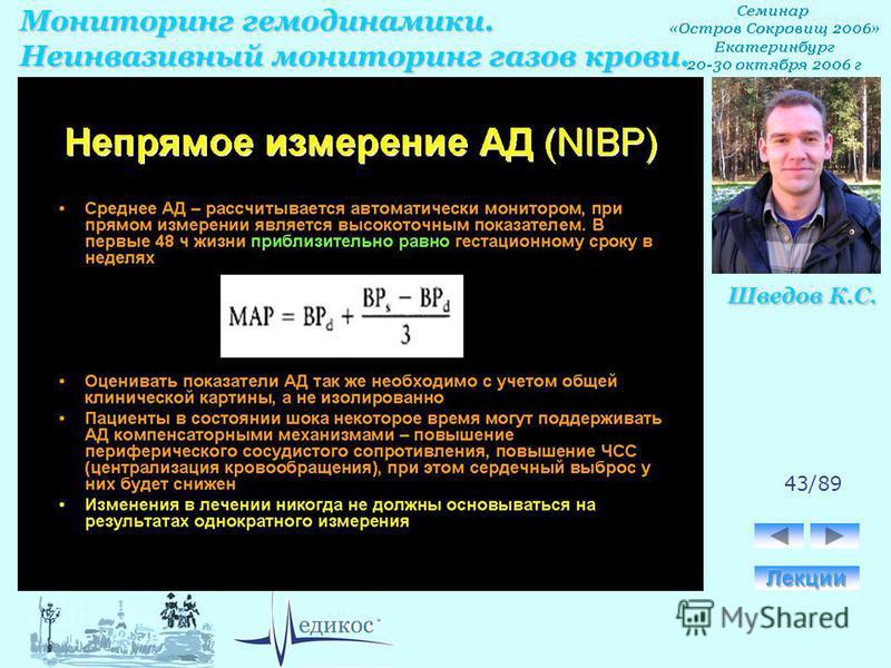 Мониторинг гемодинамики. Неинвазивный мониторинг газов крови. Шведов К.С. 43/89