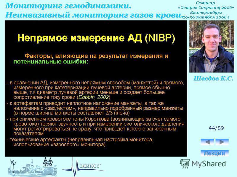 Мониторинг гемодинамики. Неинвазивный мониторинг газов крови. Шведов К.С. 44/89