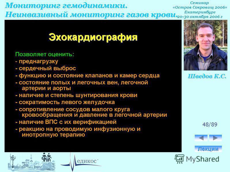 Мониторинг гемодинамики. Неинвазивный мониторинг газов крови. Шведов К.С. 48/89