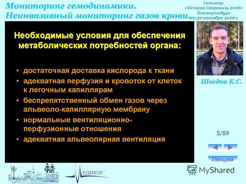 Мониторинг гемодинамики. Неинвазивный мониторинг газов крови. Шведов К.С. 5/89