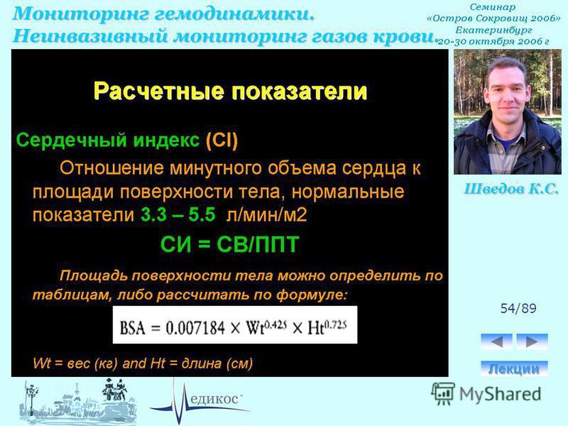 Мониторинг гемодинамики. Неинвазивный мониторинг газов крови. Шведов К.С. 54/89