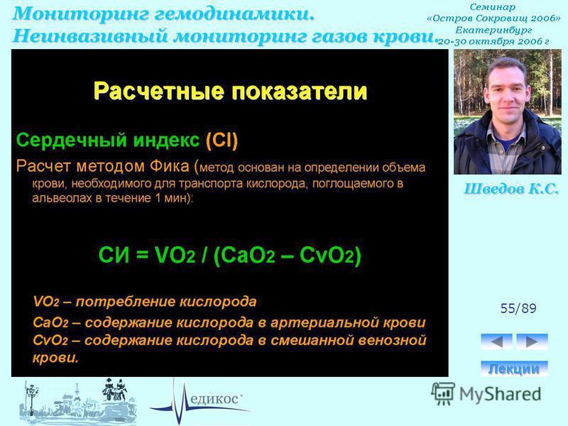Мониторинг гемодинамики. Неинвазивный мониторинг газов крови. Шведов К.С. 55/89