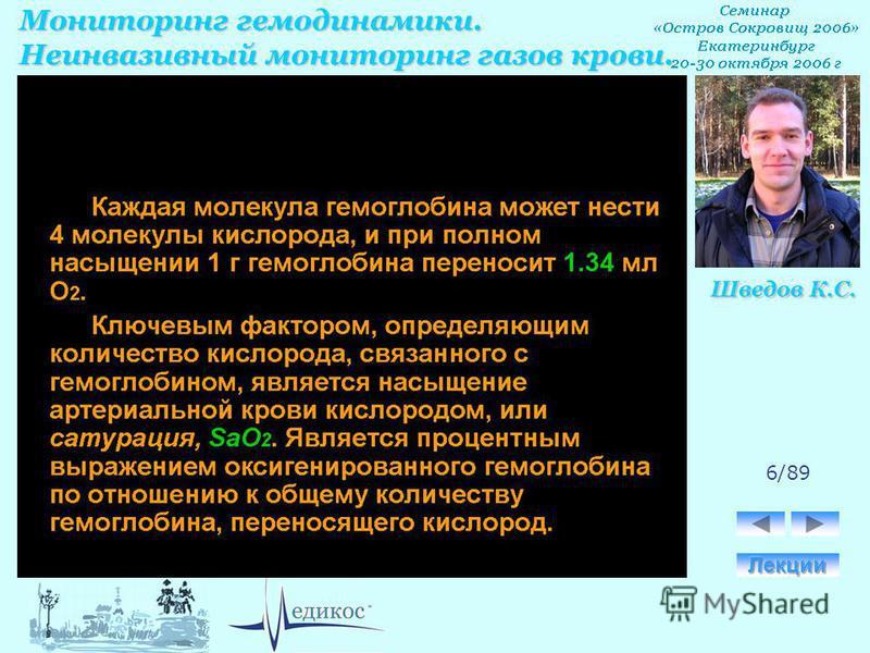 Мониторинг гемодинамики. Неинвазивный мониторинг газов крови. Шведов К.С. 6/89