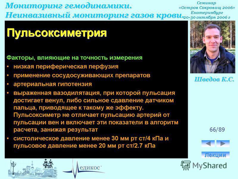 Мониторинг гемодинамики. Неинвазивный мониторинг газов крови. Шведов К.С. 66/89