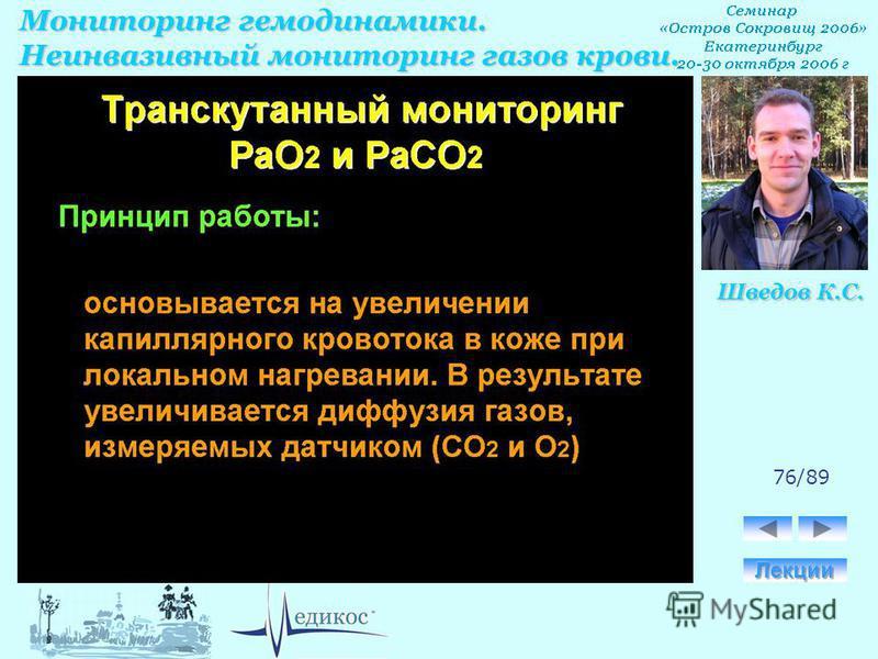 Мониторинг гемодинамики. Неинвазивный мониторинг газов крови. Шведов К.С. 76/89