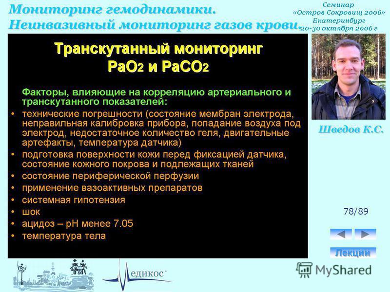 Мониторинг гемодинамики. Неинвазивный мониторинг газов крови. Шведов К.С. 78/89