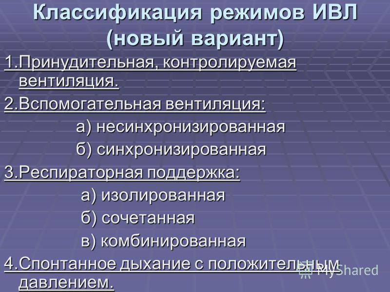 Классификация режимов ИВЛ (новый вариант) 1.Принудительная, контролируемая вентиляция. 2. Вспомогательная вентиляция: а) несинхронизированная а) несинхронизированная б) синхронизированная б) синхронизированная 3. Респираторная поддержка: а) изолирова