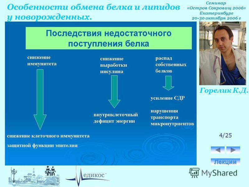 Горелик К.Д. Особенности обмена белка и липидов у новорожденных. 4/25