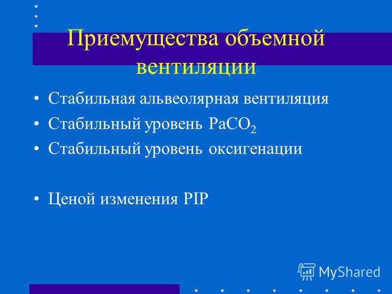 Приемущества объемной вентиляции Стабильная альвеолярная вентиляция Стабильный уровень PaCO 2 Стабильный уровень оксигенации Ценой изменения PIP
