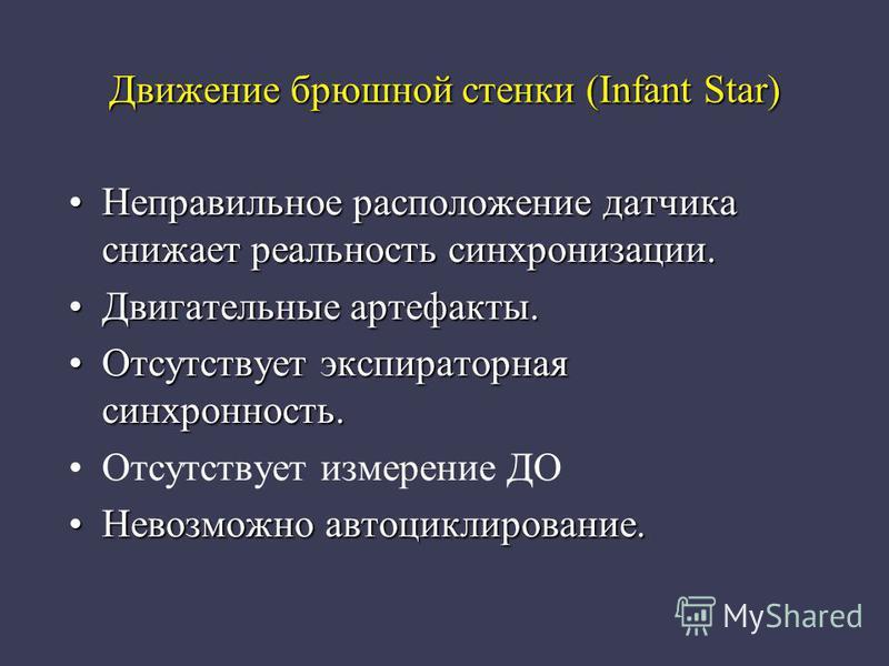 Движение брюшной стенки (Infant Star) Неправильное расположение датчика снижает реальность синхронизации.Неправильное расположение датчика снижает реальность синхронизации. Двигательные артефакты.Двигательные артефакты. Отсутствует экспираторная синх