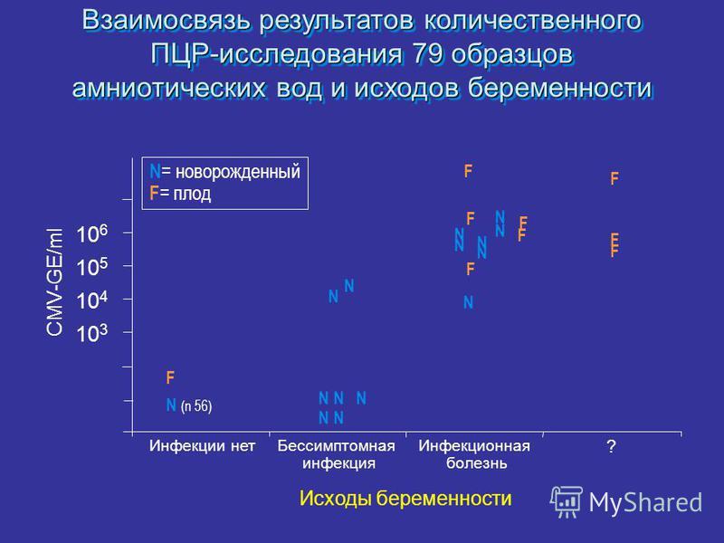 Взаимосвязь результатов количественного ПЦР-исследования 79 образцов амниотических вод и исходов беременности N = новорожденный F = плод CMV-GE/ml 10 3 10 4 10 5 10 6 Инфекции нет Бессимптомная инфекция Инфекционная болезнь F N (n 56) N N N F N N N N