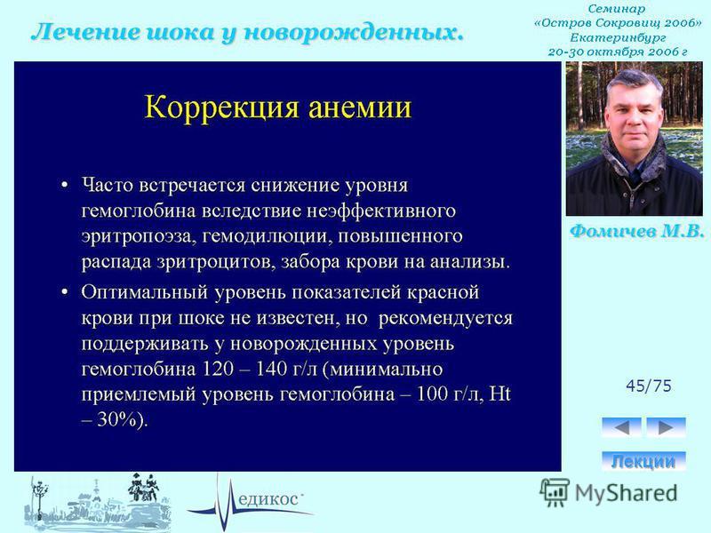 Лечение шока у новорожденных. Фомичев М.В. 45/75