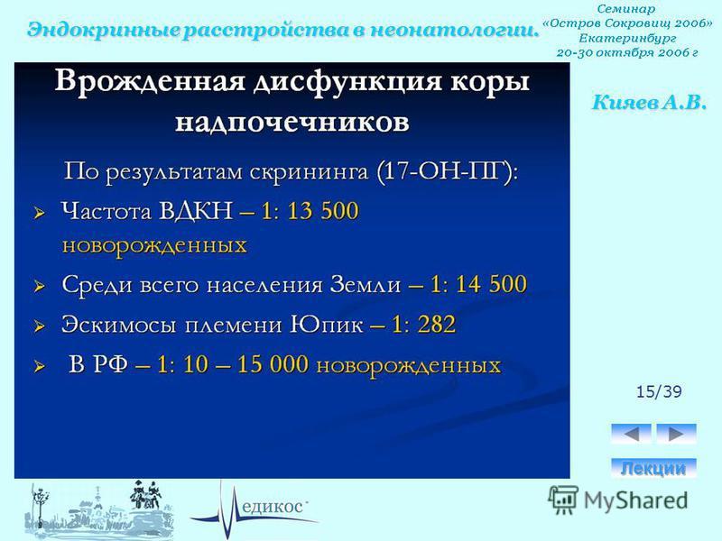 Эндокринные расстройства в неонатологии. Кияев А.В. 15/39