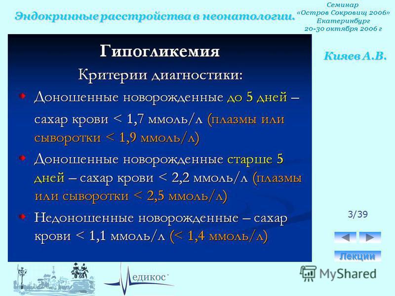 Эндокринные расстройства в неонатологии. Кияев А.В. 3/39