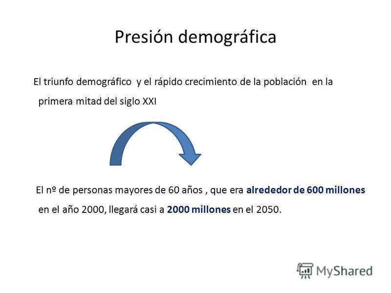 Presión demográfica El triunfo demográfico y el rápido crecimiento de la población en la primera mitad del siglo XXI El nº de personas mayores de 60 años, que era alrededor de 600 millones en el año 2000, llegará casi a 2000 millones en el 2050.