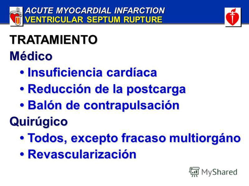ACUTE MYOCARDIAL INFARCTION VENTRICULAR SEPTUM RUPTURE TRATAMIENTOMédico Insuficiencia cardíaca Insuficiencia cardíaca Reducción de la postcarga Reducción de la postcarga Balón de contrapulsación Balón de contrapulsaciónQuirúgico Todos, excepto fraca