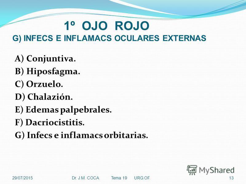 1º OJO ROJO G) INFECS E INFLAMACS OCULARES EXTERNAS A) Conjuntiva. B) Hiposfagma. C) Orzuelo. D) Chalazión. E) Edemas palpebrales. F) Dacriocistitis. G) Infecs e inflamacs orbitarias. Dr. J.M. COCA Tema 19 URG.OF.1329/07/2015