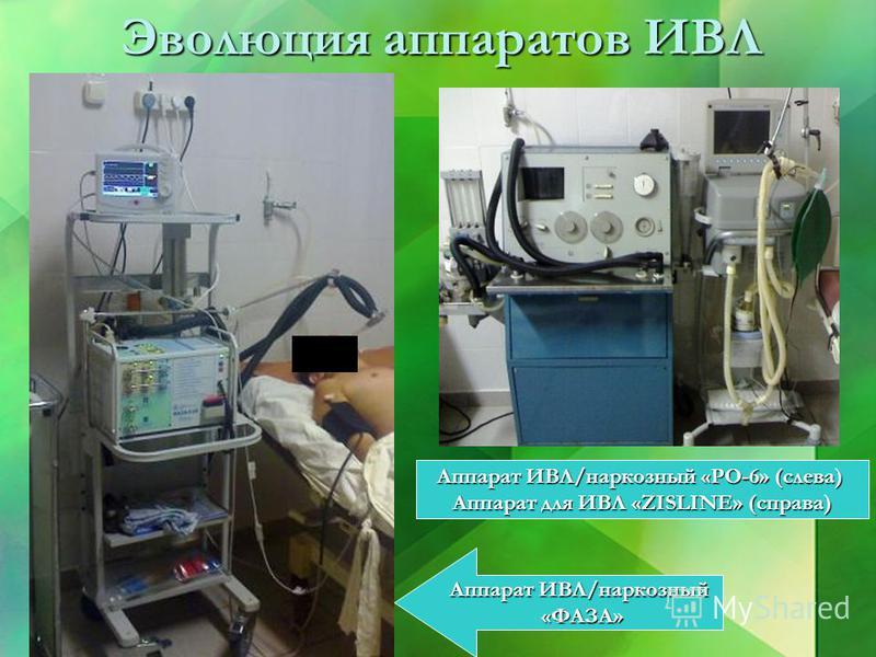 Эволюция аппаратов ИВЛ Аппарат ИВЛ/наркозный «ФАЗА» «ФАЗА» Аппарат ИВЛ/наркозный «РО-6» (слева) Аппарат для ИВЛ «ZISLINE» (справа)