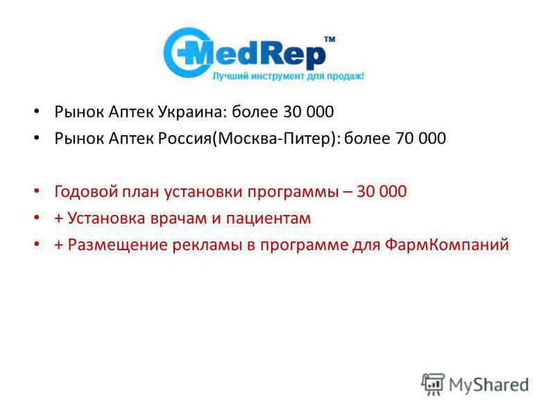 Рынок Аптек Украина: более 30 000 Рынок Аптек Россия(Москва-Питер): более 70 000 Годовой план установки программы – 30 000 + Установка врачам и пациентам + Размещение рекламы в программе для Фарм Компаний