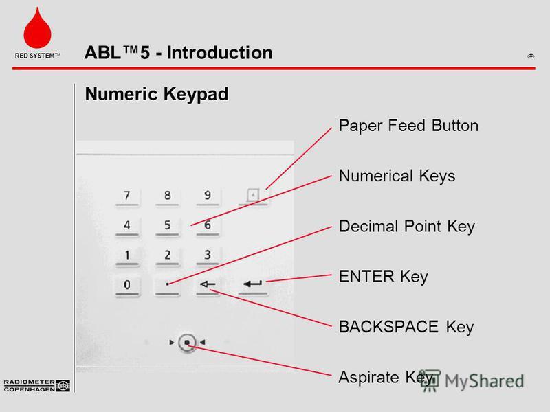 ABL5 - Introduction 7 RED SYSTEM Numeric Keypad Paper Feed Button Numerical Keys Decimal Point Key ENTER Key BACKSPACE Key Aspirate Key