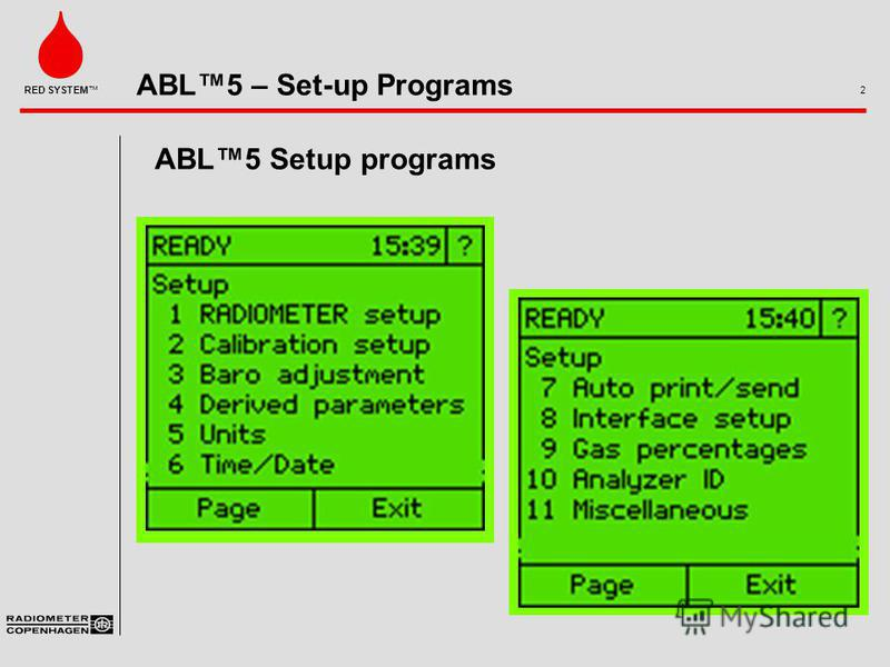 ABL5 – Set-up Programs 2 RED SYSTEM ABL5 Setup programs