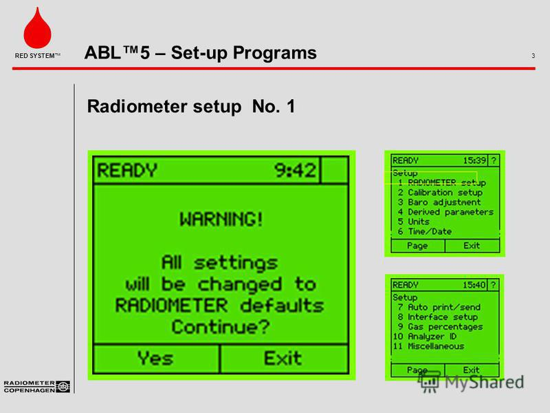 ABL5 – Set-up Programs 3 RED SYSTEM Radiometer setup No. 1