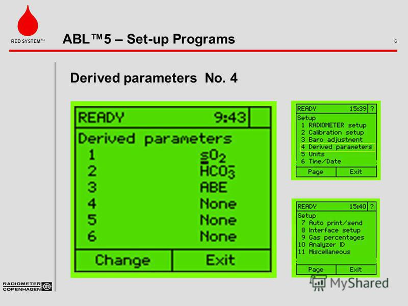 ABL5 – Set-up Programs 6 RED SYSTEM Derived parameters No. 4