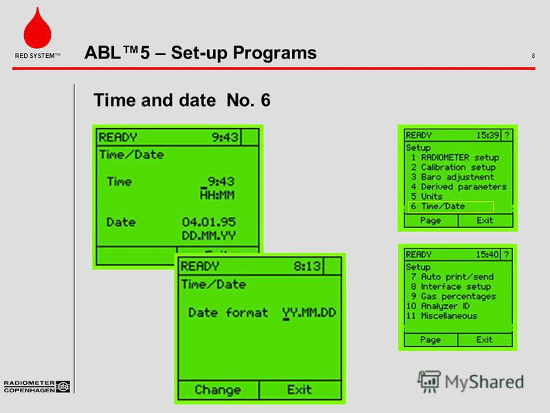 ABL5 – Set-up Programs 8 RED SYSTEM Time and date No. 6