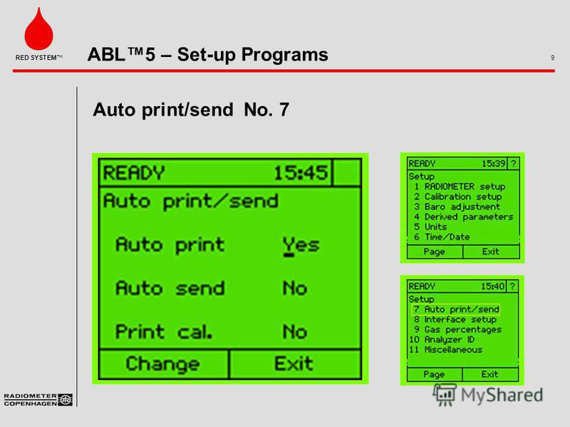 ABL5 – Set-up Programs 9 RED SYSTEM Auto print/send No. 7