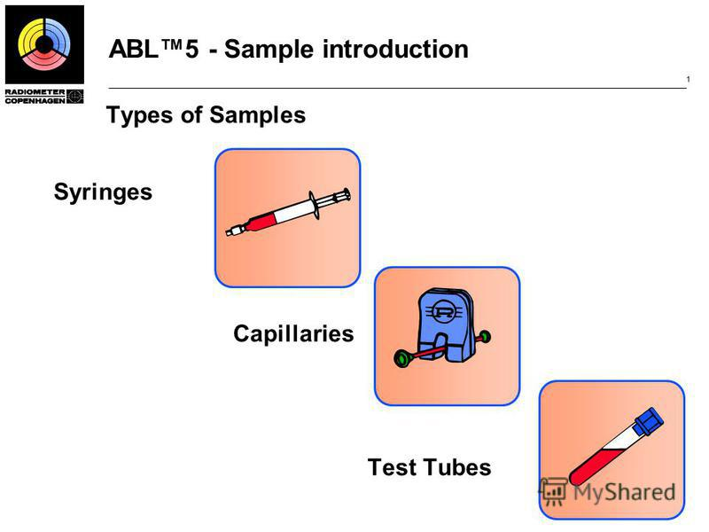 ABL5 - Sample introduction 1 Types of Samples Syringes Capillaries Test Tubes