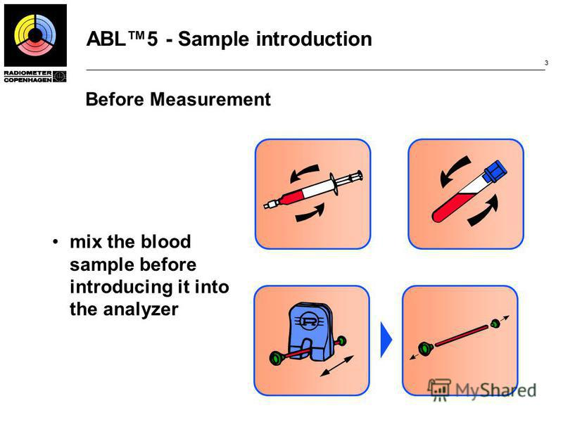 ABL5 - Sample introduction 3 Before Measurement mix the blood sample before introducing it into the analyzer