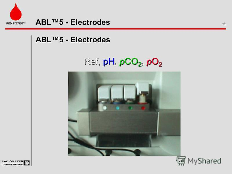 ABL5 - Electrodes 1 RED SYSTEM ABL5 - Electrodes Ref, pH, pCO 2, pO 2