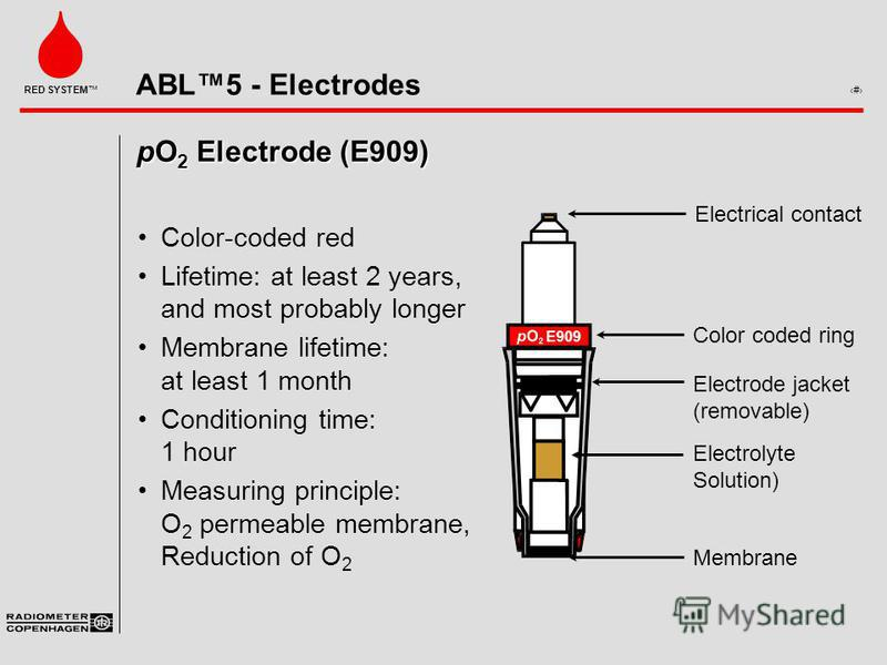 ABL5 - Electrodes 4 RED SYSTEM pO 2 Electrode (E909) Color-coded red Lifetime: at least 2 years, and most probably longer Membrane lifetime: at least 1 month Conditioning time: 1 hour Measuring principle: O 2 permeable membrane, Reduction of O 2 Elec