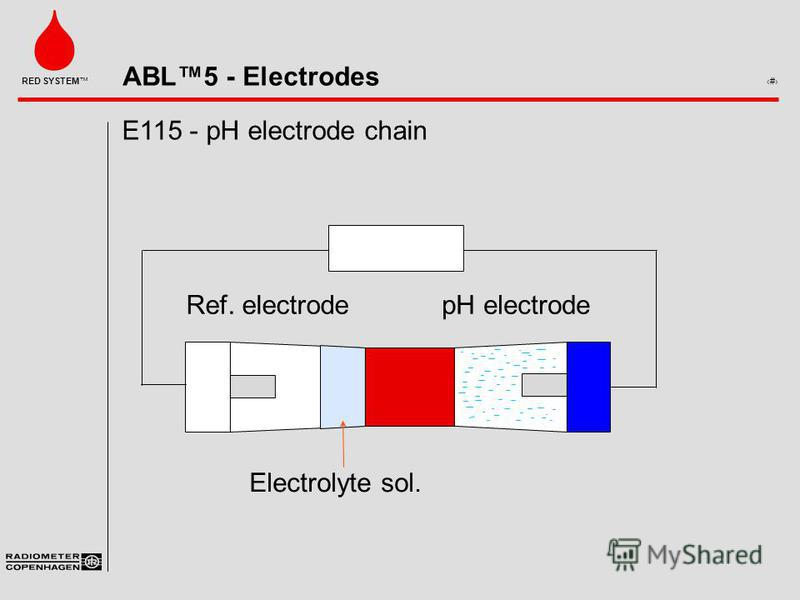 ABL5 - Electrodes 6 RED SYSTEM E115 - pH electrode chain Ref. electrodepH electrode Electrolyte sol. Voltmeter