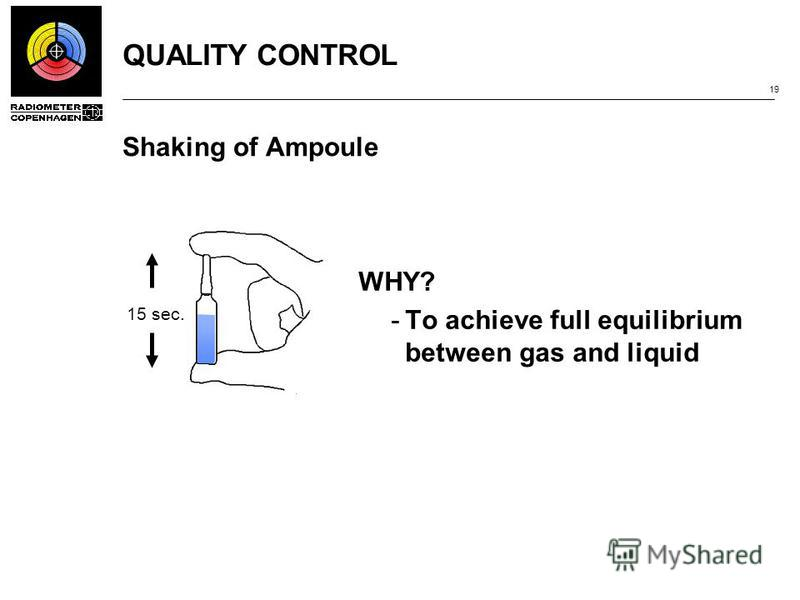 QUALITY CONTROL 19 Shaking of Ampoule WHY? ­To achieve full equilibrium between gas and liquid 15 sec.