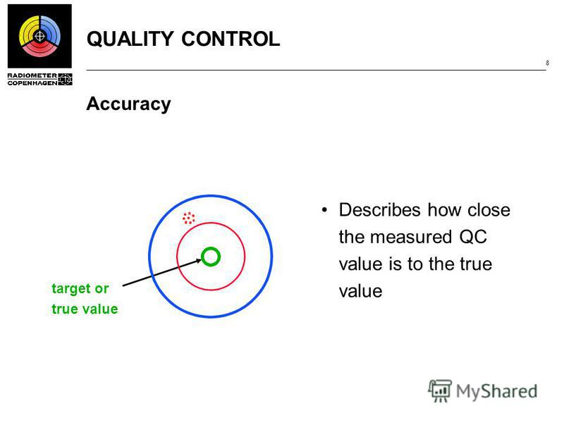 QUALITY CONTROL 8 Accuracy Describes how close the measured QC value is to the true value target or true value