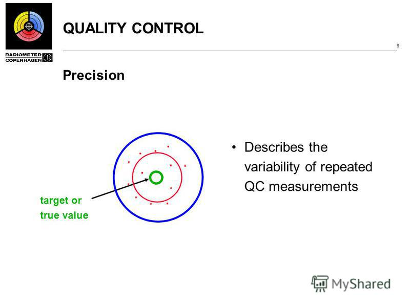 QUALITY CONTROL 9 Precision Describes the variability of repeated QC measurements target or true value