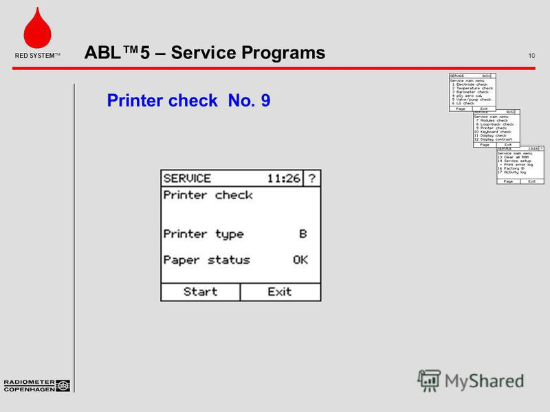 ABL5 – Service Programs 10 RED SYSTEM Printer check No. 9