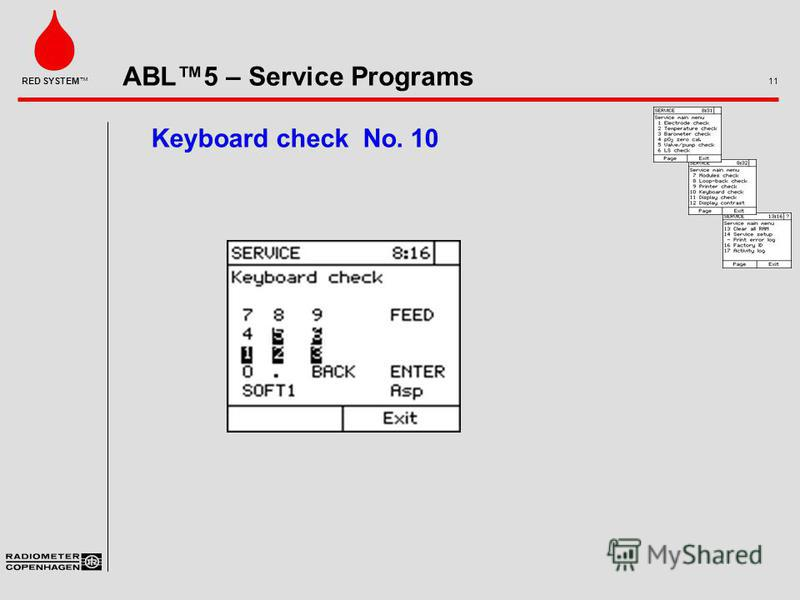 ABL5 – Service Programs 11 RED SYSTEM Keyboard check No. 10