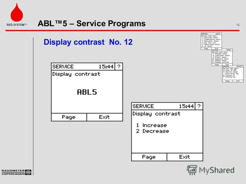 ABL5 – Service Programs 13 RED SYSTEM Display contrast No. 12