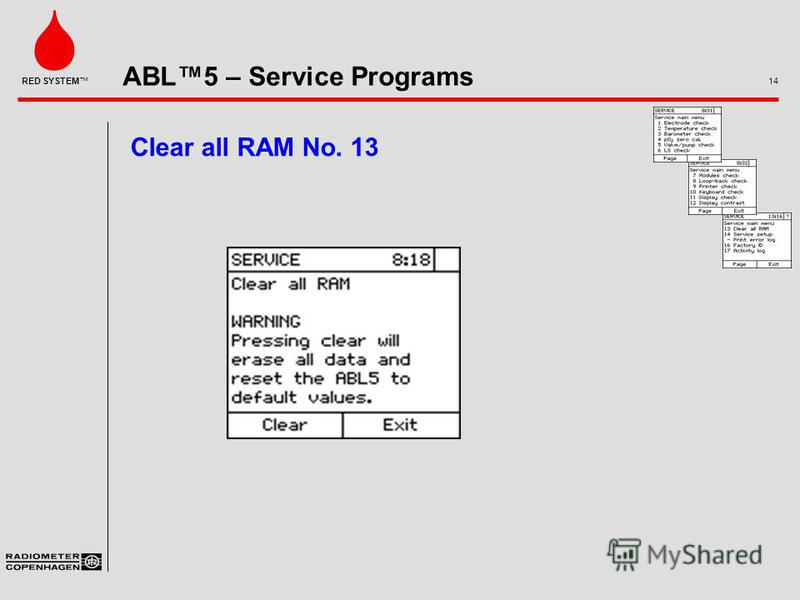 ABL5 – Service Programs 14 RED SYSTEM Clear all RAM No. 13