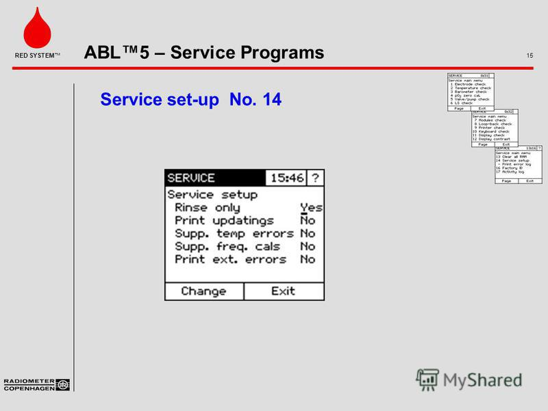 ABL5 – Service Programs 15 RED SYSTEM Service set-up No. 14