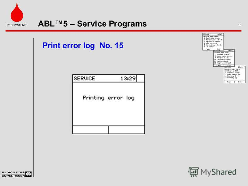 ABL5 – Service Programs 16 RED SYSTEM Print error log No. 15