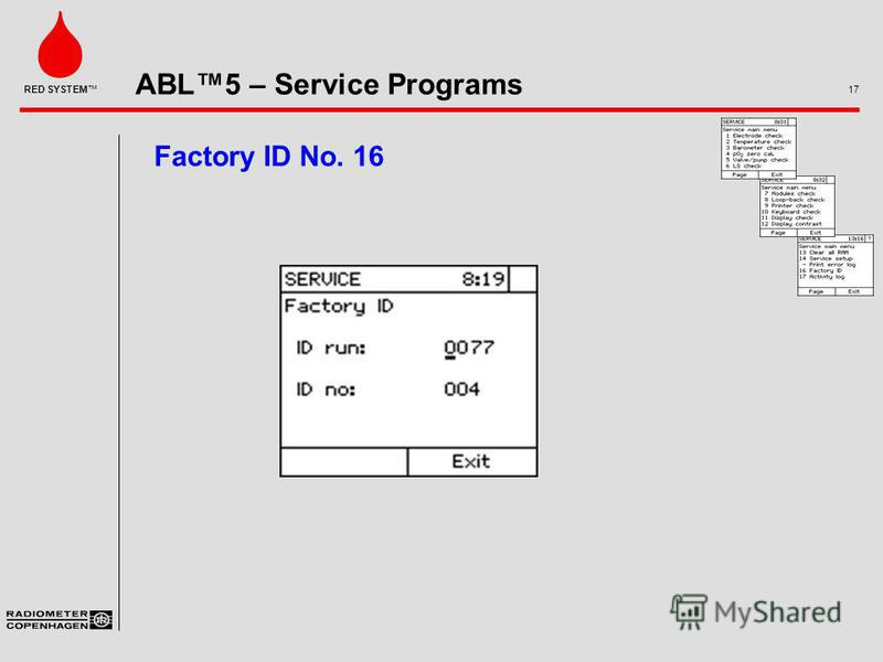 ABL5 – Service Programs 17 RED SYSTEM Factory ID No. 16